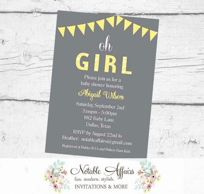 Oh Girl Yellow Bunting Baby Shower Polka Dots Stripes Invitation