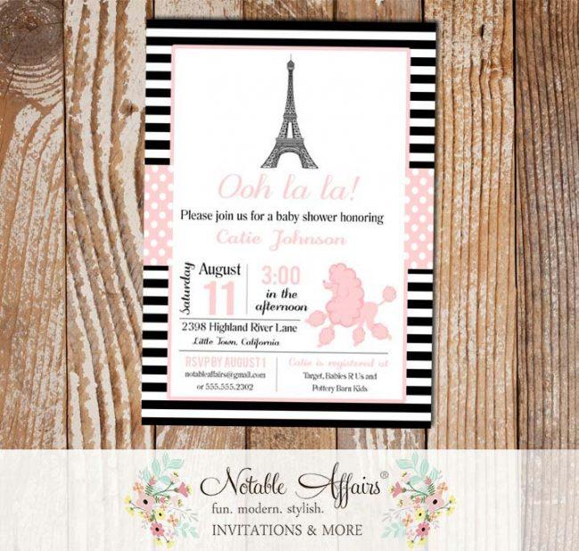Oh La La Paris Party theme invitation