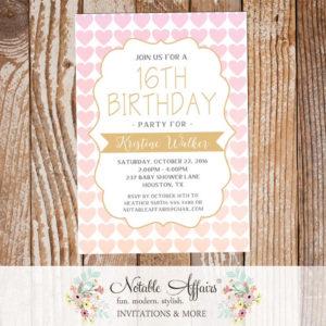 Ombre Light Pink Tan Gold Heart Pattern Birthday invitation