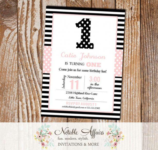 ONE 1st Birthday Party Polka Dots Stripes Invitation