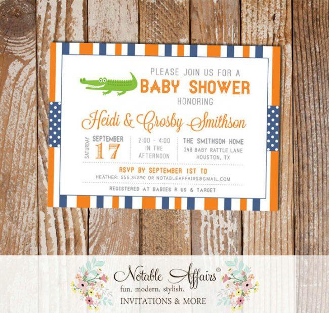 Orange and Light Navy Gator Stripes and Polka Dots Baby Shower invitation