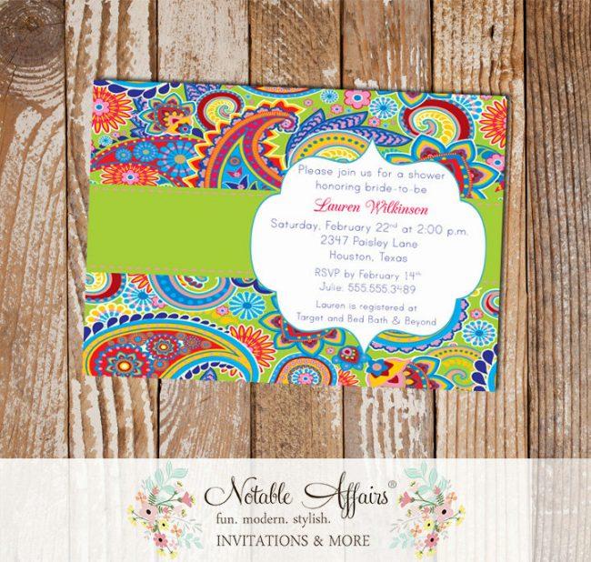 Paisley Bright Colors Bridal Wedding Shower invitation