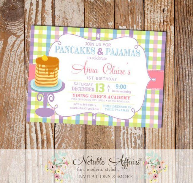 Pajamas and Pancakes Birthday Party invitation on pastel gingham