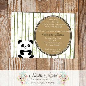Panda Bear Girl or Boy Baby Shower or Birthday Invitation