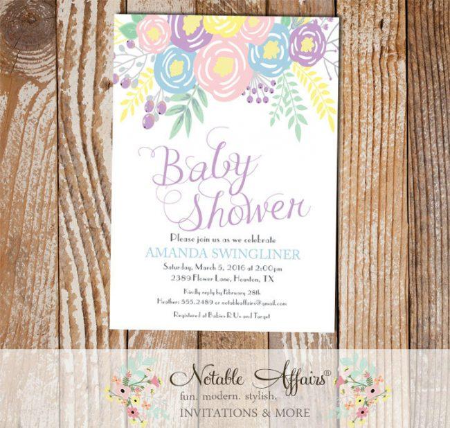 Pastel Light Blue Lavender Light Pink Flowers Modern Baby Shower invitation