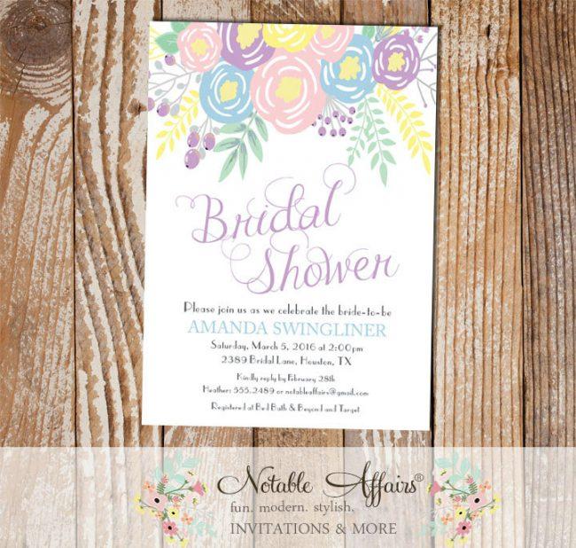 Pastel Light Blue Lavender Light Pink Flowers Modern Bridal Shower invitation