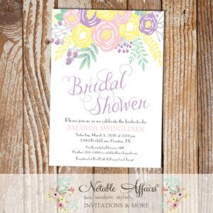 Pastel Light Yellow Lavender Light Pink Flowers Modern Bridal Shower invitation