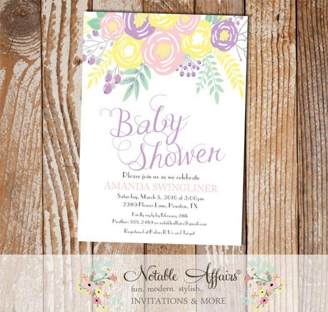 Pastel Light Yellow Lavender Light Pink Flowers Modern Girl Baby Shower invitation
