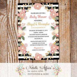 Pastel Peony Rose Flowers Baby Shower Invitation Black Stripes