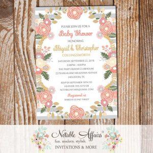 Pastel Peony Rose Flowers Baby Shower Invitation Light Gray Stripes