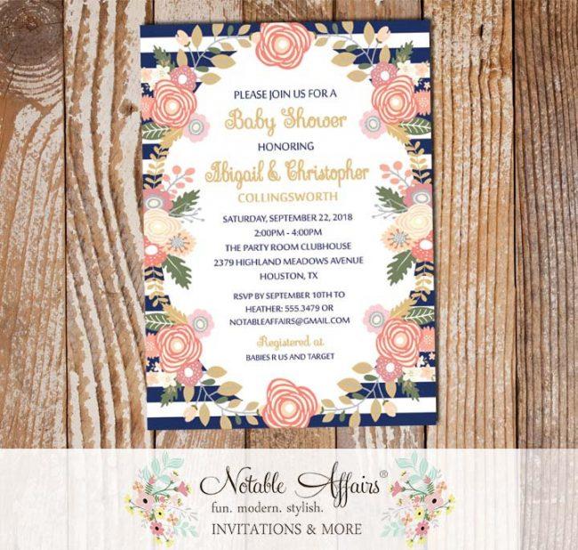 Pastel Peony Rose Flowers Baby Shower Invitation Navy Stripes