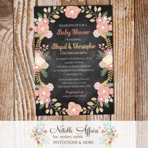 Pastel Peony Rose Flowers Baby Shower Invitation on Chalkboard background