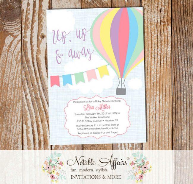 Pastel Pink Purple Mint Hot Air Balloon Baby Shower Birthday invitation on blue linen