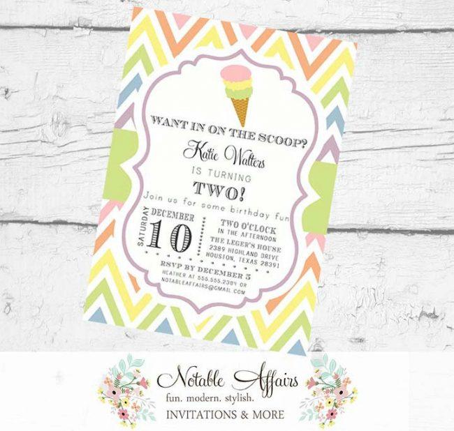 Pastel Rainbow Chevron Ice Cream Cone Baby Shower or Birthday Invitation