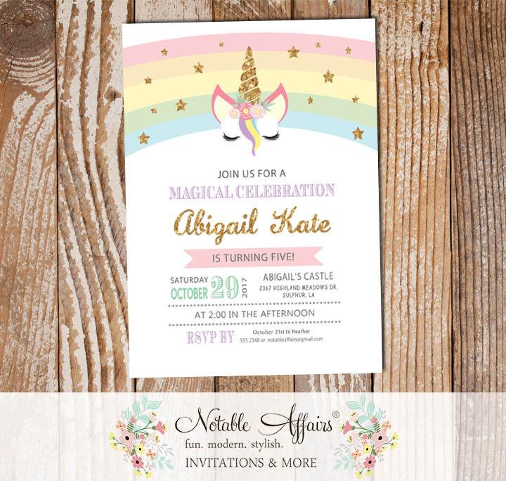 pastel rainbow gold glitter unicorn head with stars invitation