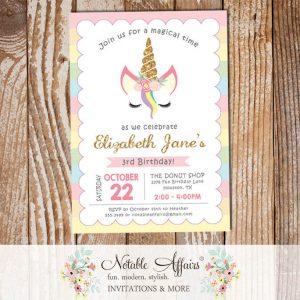 Pastel Rainbow Stripes gold glitter unicorn head invitation