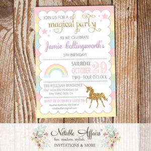Pastel Rainbow Stripes gold glitter unicorn invitation