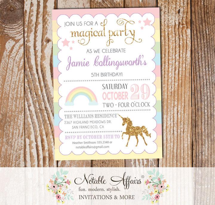 pastel rainbow stripes gold glitter unicorn invitation notable affairs