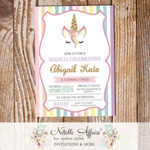 Pastel Vertical Rainbow Stripes gold glitter unicorn head invitation