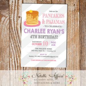 Pink and Lavender Pajamas and Pancakes diagonal stripes Birthday Party invitation