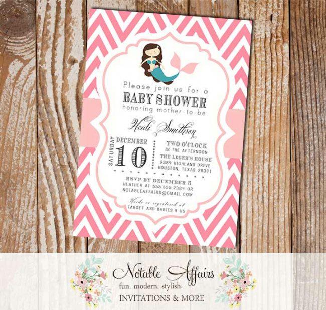 Pink and Light Pink Chevron with Mermaid Modern Girl Baby Shower Birthday Invitation