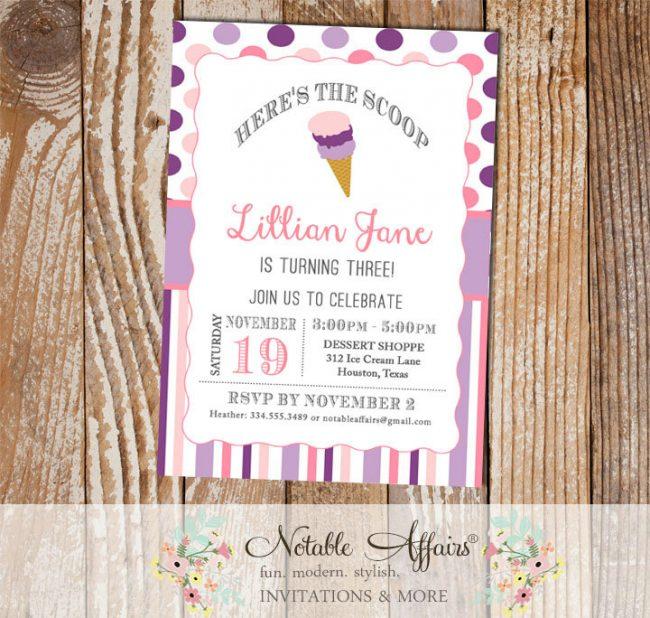 Pink and Purple Ice Cream Cone Dessert Birthday Party Invitation
