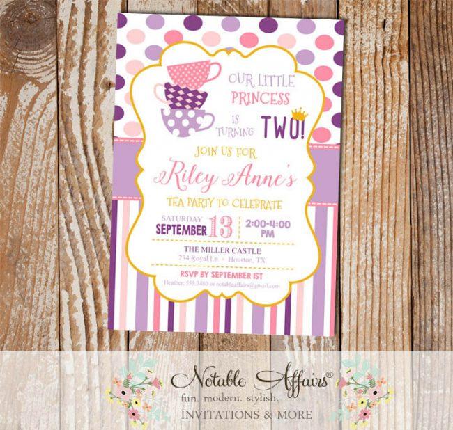 Pink and Purple Princess Tea Party Polka Dot and Stripes birthday invitation