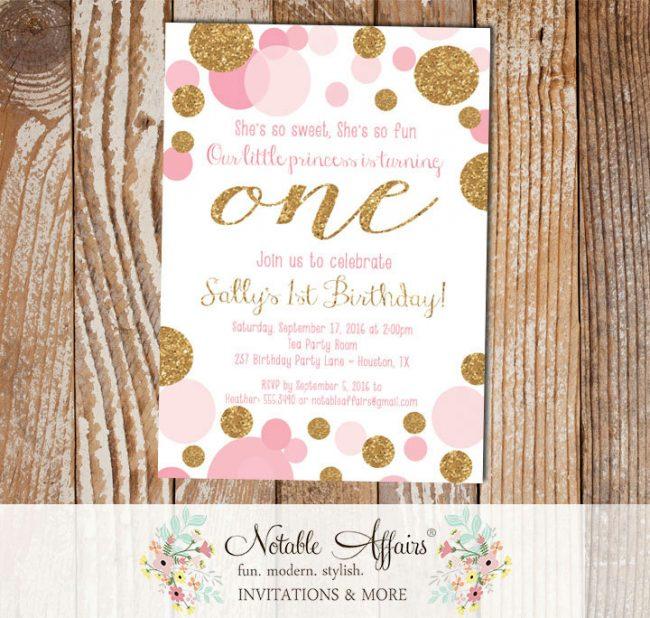 Pink Confetti Dots Sprinkles First Birthday Invitation