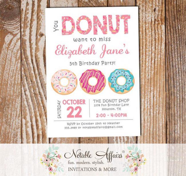 Pink Donut Sprinkles Colorful Birthday Invitation