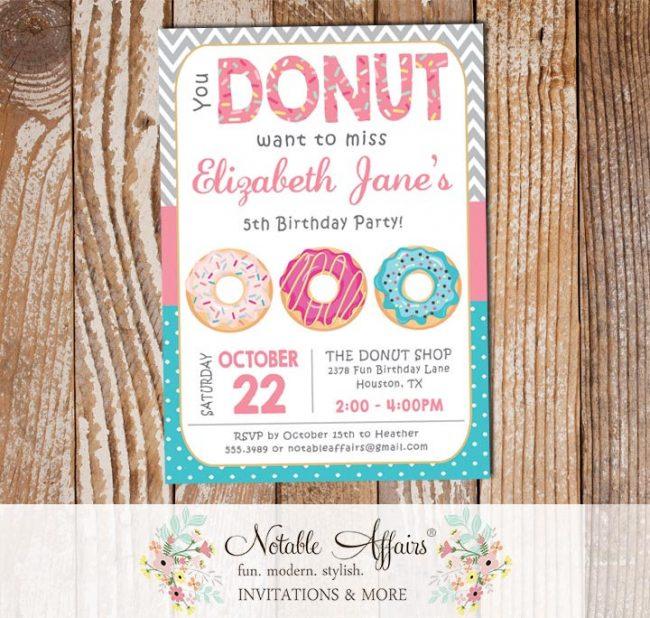 Pink Donut Sprinkles Colorful Birthday Invitation Chevron and Polka Dots