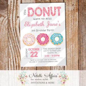 Pink Donut Sprinkles Colorful Birthday Invitation Diagonal Stripes