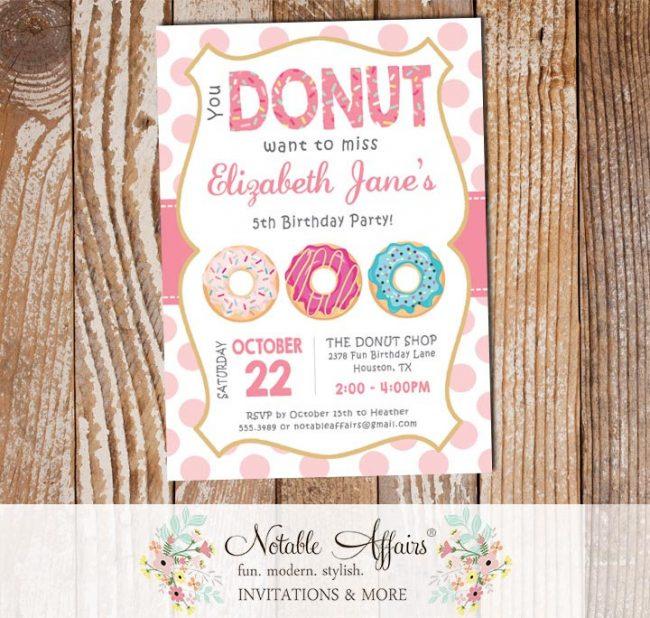 Pink Donut Sprinkles Colorful Birthday Invitation Large Polka Dots