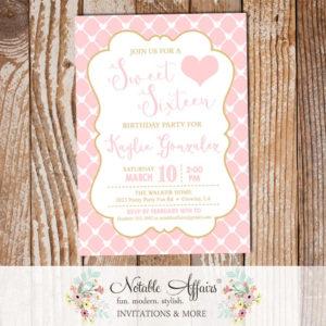 Pink Heart Gingham Tan Gold Birthday Bridal Shower Baby Shower invitation