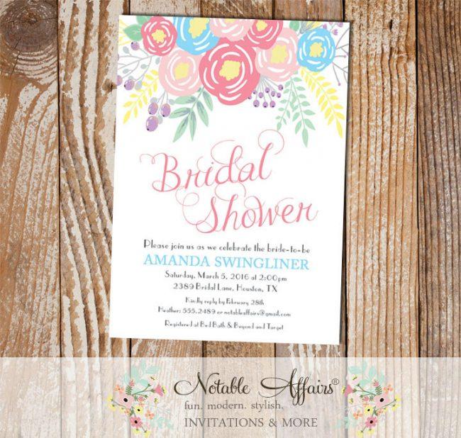 Pink Ice Blue Light Pink Flowers Modern Bridal Shower invitation
