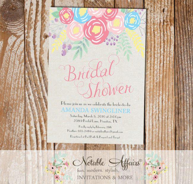 Pink Ice Blue Light Pink Flowers Modern Bridal Shower invitation on gray burlap background