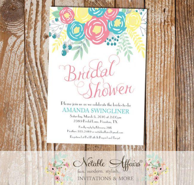 Pink Ice Blue Light Yellow Flowers Modern Bridal Shower invitation