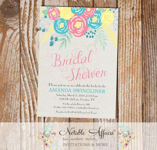 Pink Ice Blue Light Yellow Flowers Modern Bridal Shower invitation on gray burlap background