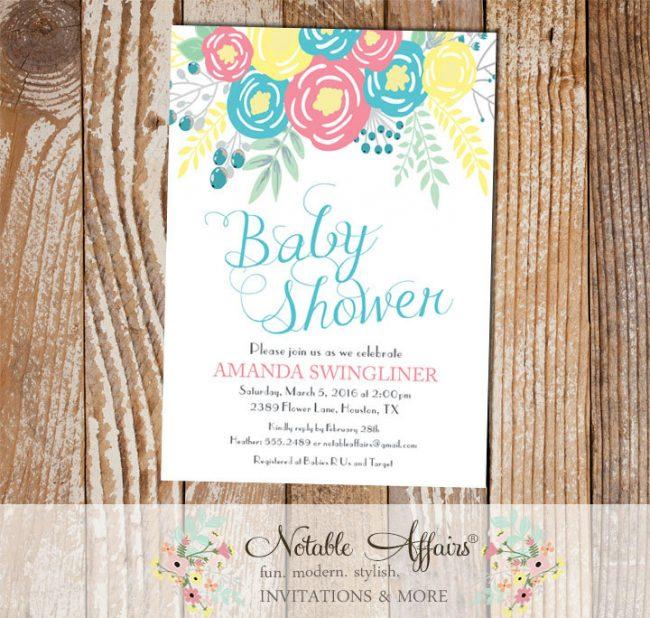 Pink Ice Blue Light Yellow Flowers Modern Gender Neutral Baby Shower invitation