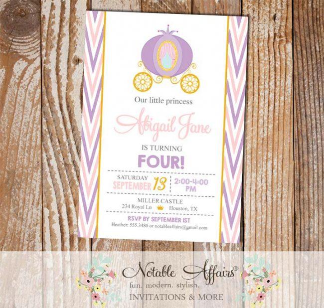 Pink Lavender Mint Gold Princess Carriage Side Chevron birthday invitation