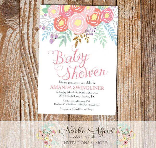 Pink Light Pink Coral Flowers Modern Baby Shower invitation