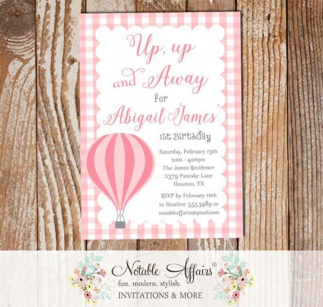 Pink Light Pink Hot Air Balloon gingham Birthday invitation
