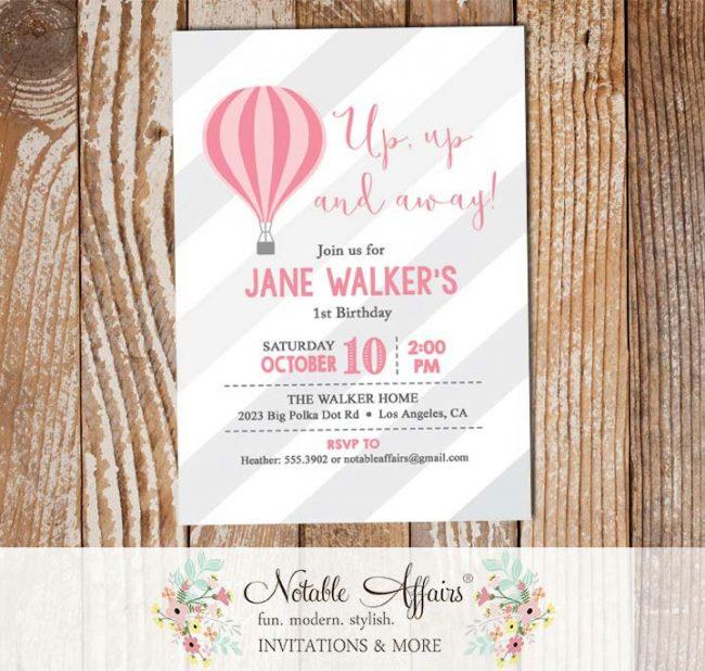 Pink Light Pink Hot Air Balloon stripes Birthday invitation