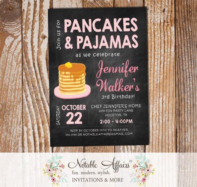 Pink Light Pink Modern Chalkboard Pancakes and Pajamas Girl Birthday invitation