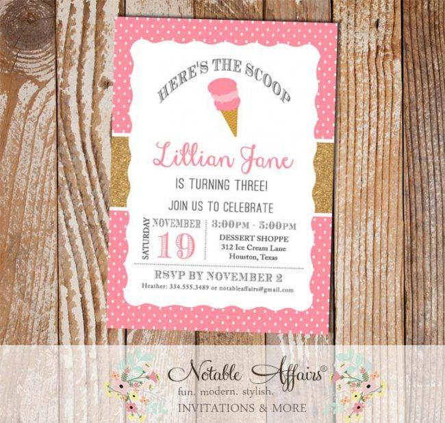 Pink polka dots and Gold Glitter Ice Cream Cone Dessert Birthday Party Invitation