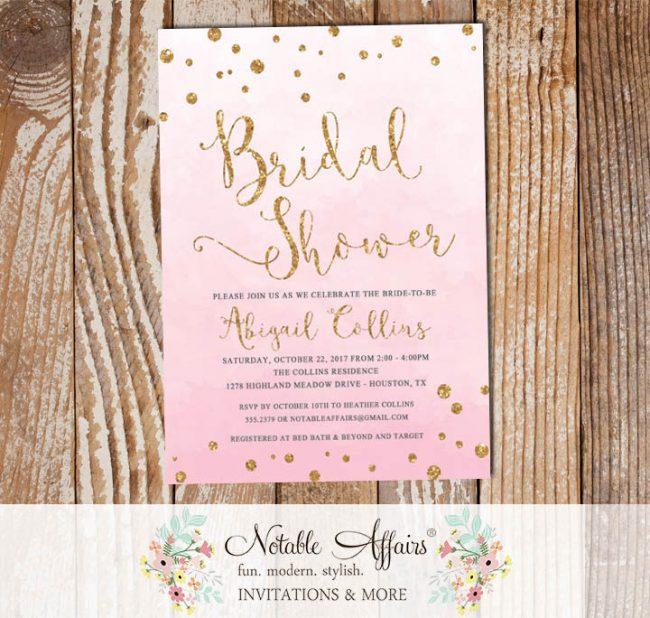 Pink Watercolor Gold Glitter Bridal Lingerie Shower invitation with confetti dots