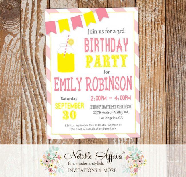 Pink Yellow and Light Pink Lemonade Birthday invitation on diagonal stripes