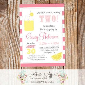 Pink Yellow and Light Pink Lemonade Birthday invitation on horizontal stripes