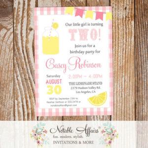Pink Yellow and Light Pink Lemonade Birthday invitation on plaid gingham