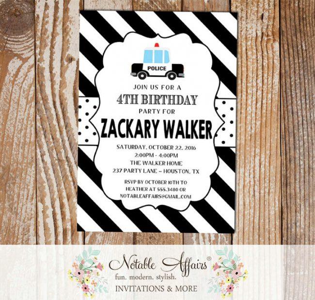 Police Car Diagonal Stripes Polka Dots Birthday Party invitation
