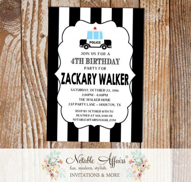 Police Car Vertical Stripes Polka Dots Birthday Party invitation